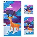 Vnurnrn Pintura Ciervo Alce Azul Arte Juego de Toallas para Baño Playa Toalla (1 Toalla de Baño y 1 Toalla de Mano y 1...