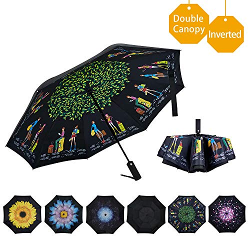 VIWINVELA Inverted Automatic Umbrella Double Layer Windproof Reverse Folding Umbrella for Car Travel Men Women Girls