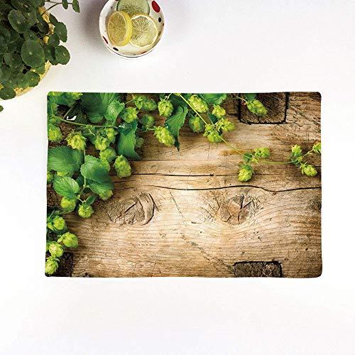 Juego de 4 Manteles Individuales,Antideslizantes, Planta, ramas de lúpulo sobre una tabla de mad,Manteles Individuales Lavables Salvamanteles Individuales Resistentes para la Mesa de Comedor de Cocina
