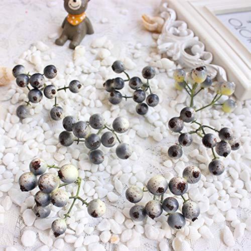 Artificial and Dried Flower 10PCS, Mini Artificial Floral Foam Pip Berries, Garland Decoration accessoiresHome Wedding Decor - ( Color: Gray Blue )