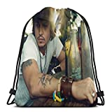 JohnnyDepp Unisex Drawstring Backpack Casual Shoulder Bags Cinch bag Polyester Waterproof String Bags For Sports Gym Yoga Swimming Traveling school