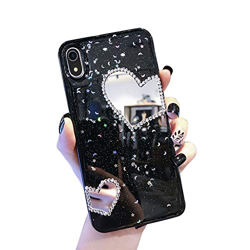 QPOLLY Kompatibel mit iPhone XR Hülle TPU Silikon Glitzer Bling Kristall Schutzhüll [Glänzend Diamant Spiegel] Mirror Case Handyhülle für Frauen Mädchen Ultradünn Soft Zurück Hülle,Schwarz