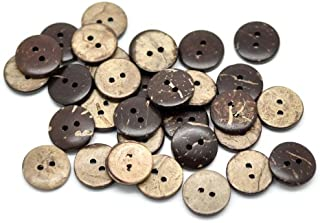 PEPPERLONELY Brand 100PC Brown Coconut Shell Buttons 2 Hole Scrapbooking Sewing Buttons 15mm (5/8 Inch)