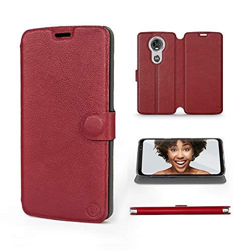 Mobiwear | Echt Lederhülle | Kompatibel mit Motorola Moto E5 Plus, Made in EU handyhülle, Slim Leather Hülle, Premium Flip Schutzhülle, Transparent TPU Silicon, Book Style, Tasche - Dunkelrotes Leder