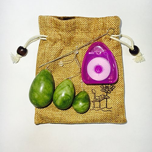 yoniloveeggTM The Jade Egg Yoni Eggs Set of 3 Women Pelvic Floor Kegel Exercise with Storage Pouch (Green)