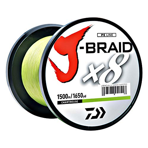 Daiwa JB8U8-300CH J-Braid Braided Line, 8 Lbs Tested, 330 yd/300M Filler Spool, Chartreuse