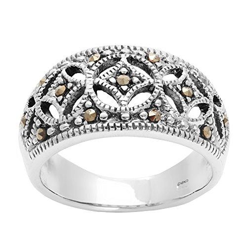 Silverly Frauen .925 Sterling Silber Markasit Simulierte Oxidiertes Art Deco Stil Band Ring