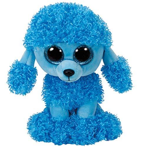 TY Poodle Blues 36851 Mandy, Pudel mit Glitzeraugen, Beanie Boo's, Plüsch, Blau, 15 cm