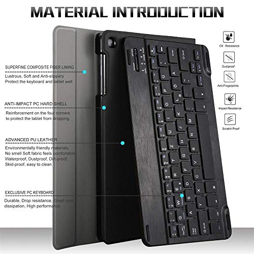 Hülle für Samsung Galaxy Tab A 10.1 2019 SM-T510 T515, Ultradünn Ledertasche Schutzhülle mit Abnehmbarer Drahtloser LED Beleuchtete Tastatur Stand Cover (Schwarz)