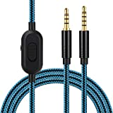 Replacement Audio Cord for Astro A10 A30 A40 A50 Headset with Volume Control and Inline Mute Function, Nylon Braided Cable Compatible with Xbox One Play Station 4 PS4 Via 3.5mm Jack. 2m/6.5ft (Blue)