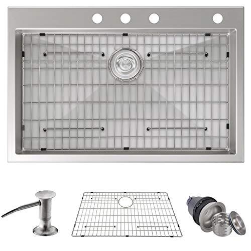 MOWA HTS3322 Tight Radius 33' 16 Gauge Stainless Steel Topmount Drop-in Kitchen Sink - Upgraded Mounting Clips, 9-Gauge Thick Rim & Deep Basin Sink w/Basket Drain Assembly & Sink Bottom Grid