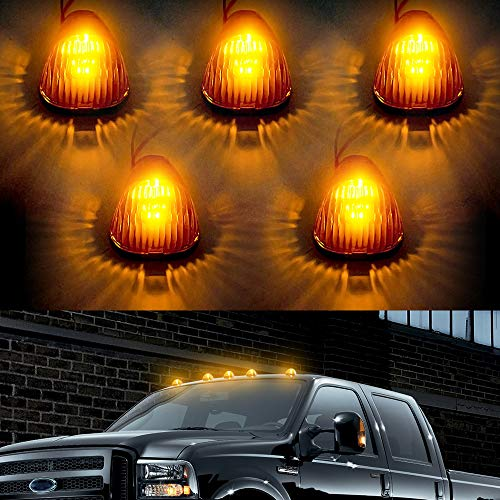 F350 LED Cab Lights Marker Top Roof Running Light 5PC Smoked Len Amber 5LED...