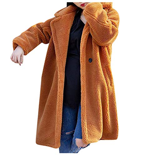 SOMESUN Damen Kunstpelz Mantel Knielanger Parka Verdicken Pelzmantel Flaumig Warme Outwear Elegant Winter Jacket