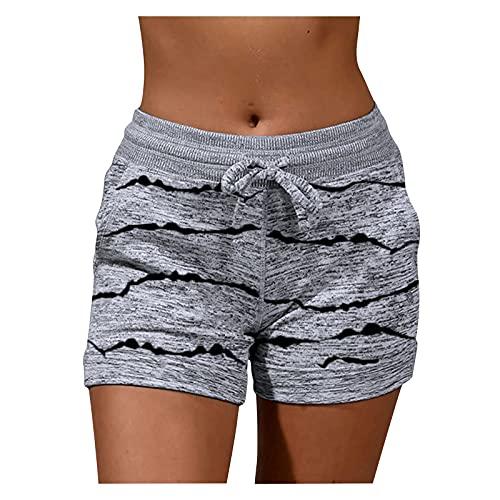Damen Sport-Shorts, elastischer Taillenbund, Kordelzug, lässige Sweatshorts, bequeme Sommer-Shorts mit Taschen, Yoga, Laufen, grau, XL