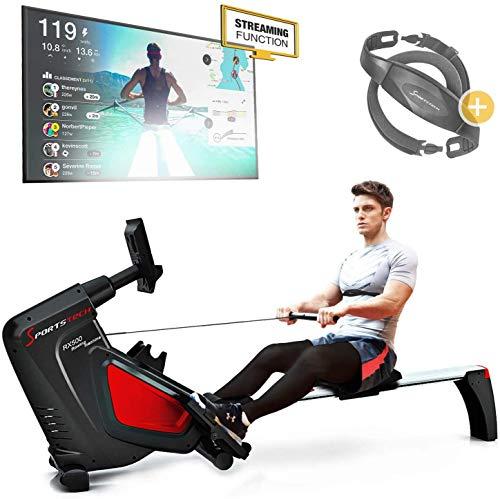 Sportstech RSX500 Máquina de Remo - Marca de Calidad Alemana - Modo de competición - Incl. pulsómetro (Valor: 39,90) 16 programas, Resistencia magnética, Soporte para Tablets, Plegable (*RSX500)