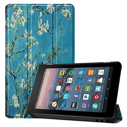 Weichunya For Amazon Fire 7 Inch (7th/8th Gen, 2017/2019 Release) Owl Butterfly Flower Dandelion Eiffel Tower Design Smart Tablet Case Trifold Stand With Auto Sleep/Wake Function (PATTERN : 5)