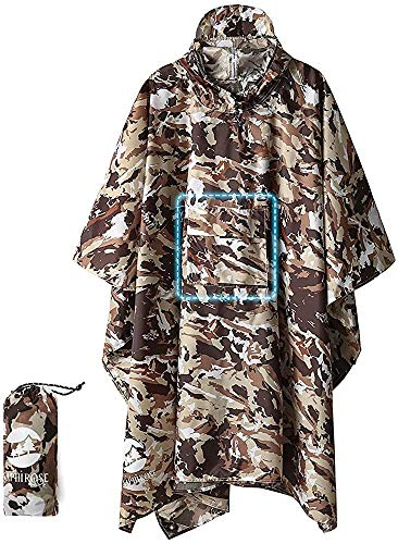 51gEGu8IDEL - 3-in-1 Multi-Functional Waterproof Poncho Hooded Outdoor Adult - Waterproof Raincoat,Sunshade Tarp,Tent Ground Sheet Mat…