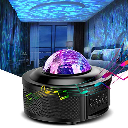 Galaxy Projector Light Star Projector Night Light Ocean Wave Starry Projector with Bluetooth Speaker,Rotating LED Projection Light for Kids Bedroom Decoration
