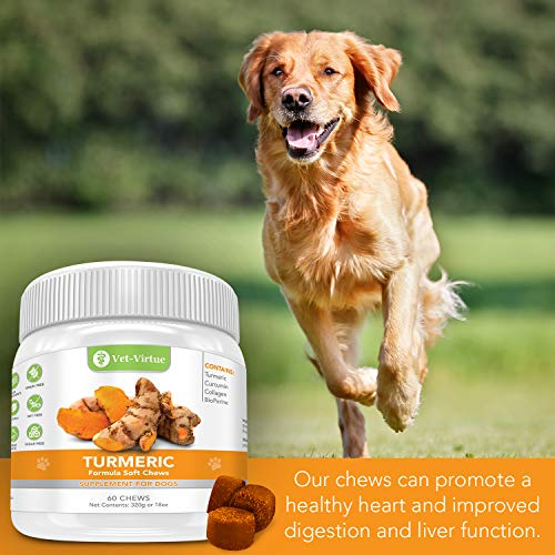 Turmeric for Dogs- Organic Turmeric with Curcumin, Chicken Flavored Soft Chews with Collagen and Bioprene to Ensure the Highest Absorption of this Natural Antioxidant
