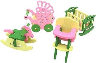 rongweiwang Simulering baby träleksaker natur möbler leksak hus set rum kök bord leksaker för barn barn