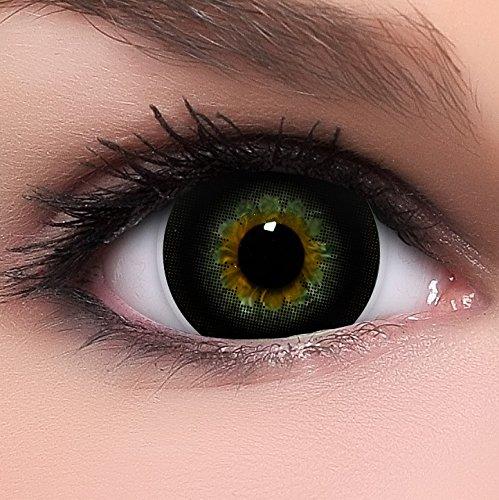 Circle Lenses schwarze Choco Black ohne Stärke + Behälter I 15mm I weich I 3 Monate anwendbar