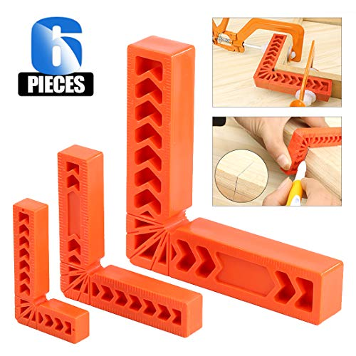 """Glarks 6Pcs 3"""" 4"""" 6"""" 90 Degree Positioning Squares, Right Angle Corner Clamps for Woodworking, Picture Frames, Boxes, Cabinets or Drawers, L-type Right Angle Ruler, Carpenter Tool"""