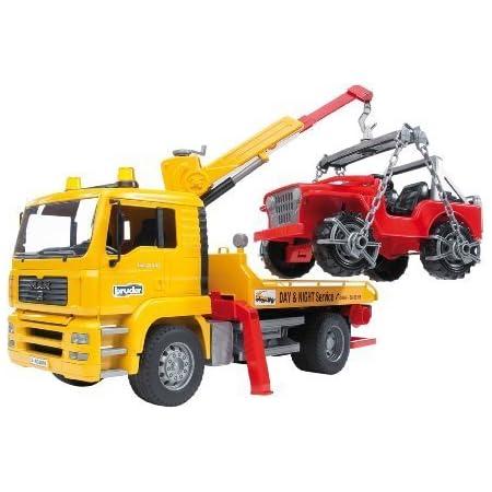 Bruder Spielwaren- Man TGA Abschlepp-LKW mit Geländewagen Bruder 02750-Camion MAM Trasporto Jeep, 02750