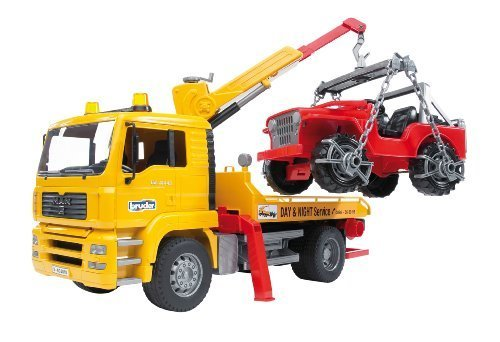 Bruder 02750 - MAN TGA Abschlepp-LKW mit Geländewagen