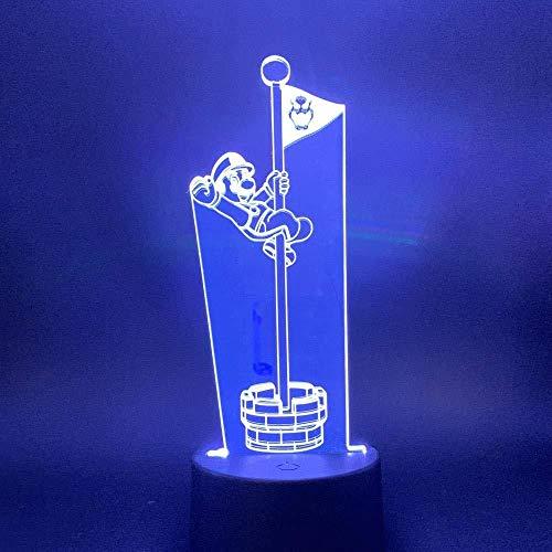 3D Slideshow 3D nachtlampje spel LED Mario aanraken Het doel van de pool vlag cool geschenk voor kinderen kind slaapkamer decoratie tafel bureaulamp zonder afstandsbediening