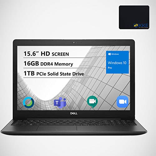 Dell Inspiron 15.6' HD Business Laptop, Intel 4205U, 16GB RAM, 1TB PCIe SSD, Webcam, WiFi, KKE Mousepad, Bluetooth, Win10 Pro, Black