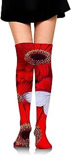 Uridy, Calcetines hasta la rodilla Tubo lindo Papá Noel y niños Impresiones sobre muslo Medias largas y altas