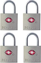 Master Lock 4683QAU TSA Keyed Padlock, 4 Pack, 22mm Wide Bodies, Silver