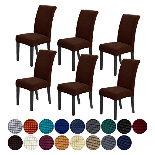 Howhic Stretch Chair Covers for Dining Room Set of 6, Removable Washable Dining Room Chair Covers, Dining Chair Slipcovers Seat Protector, Great Home...