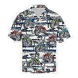 Camisa de manga corta para hombre con solapas, de punto suelto, con botones, para la playa C_blanco XL