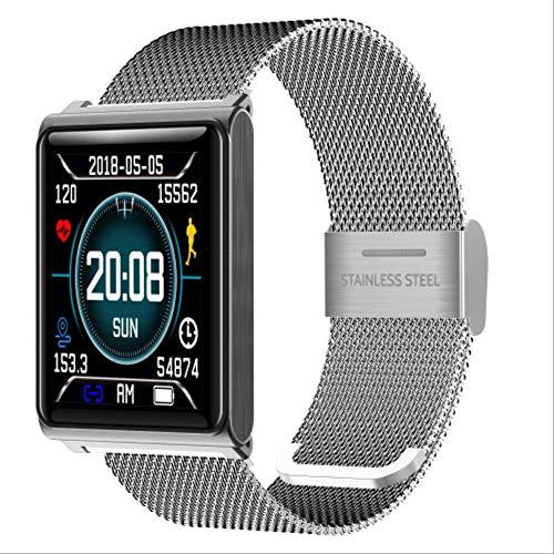 POKQHG N98 Luxe Merk Sport Slimme Horloge Mannen Hartslagmeter Fitness Tracker Sport Smart Horloges Voor Android Ios Relogio Masculino, steel silver