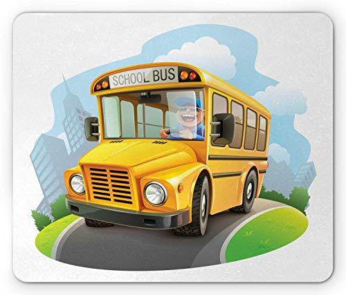 School Bus Mouse Pad, Bus Driver Lachend Rijden Cartoon Grappige Tekening Wielen op De Weg, Antislip Rubber Mousepad muismat