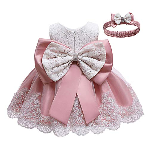 KISSOURBABY Baby Girl Christening Pink Dress Baby Girls Embroideries Baptism Dresses Special Occasions Gown for Baby Girl with Headwear(Bean Pink 12M)