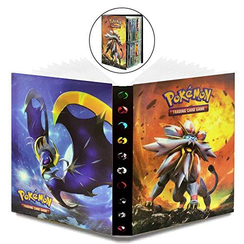 WELLXUNK Pokemon kort, pokemon klippbok pokémon kort pokemon album bok GX EX tränare samlarkort album, 30 sidor kan rymma upp till 240 kort (sol mån)