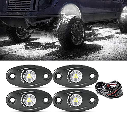 MICTUNING 4 Pods White LED Rock Lights, Waterproof Underglow Underbody Light Kit with Wiring Harness for Car Truck ATV UTV SUV Offroad Boat