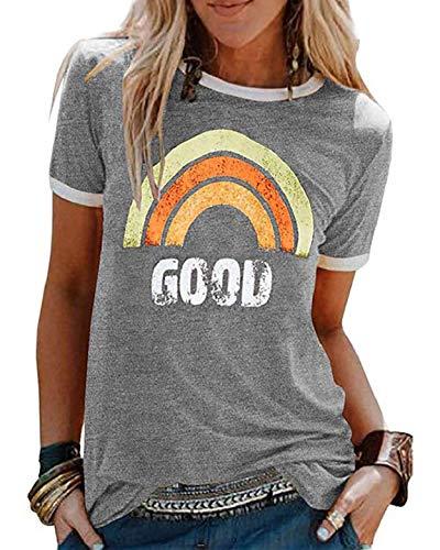 CMTOP Camiseta Manga Corta para Mujer Algodón T-Shirt Casual Blusa Estampada de Arco Iris Elasticidad Transpirable Basic Top para Verano