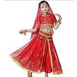 ZYLL Vestido de Danza del Vientre para niñas, Conjunto de 5 Piezas, Vestido de actuación árabe Indio de Bollywood, Traje de Carnaval para niños,Rojo,L