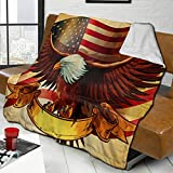Hello Gorgeous Sherpa Throw Blankets American Flag Bald Eagle Plush Blankets Ultra Soft Warm Sofa Blankets for Men Women Reversible Cozy Bed Covers for Couch Bed Living Room 80'X60'
