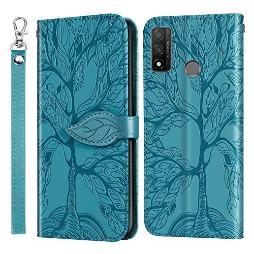 Miagon Prägung Lederhülle für Huawei P Smart 2020,Handyhülle Tasche Brieftasche Hülle Bookstyle Schutzhülle Flip Case Cover Klapphülle Kartenfächer,Baum Blau