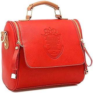 Women Leather Vintage Cross body Shoulder Bag High Capacity Messenger Evening Bag- Red