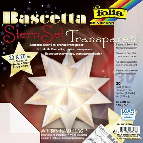 Faltblätter Bascetta Stern Transparent weiß, 20x20
