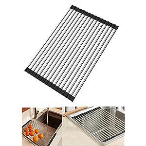 DEBEME Escurreplatos Enrollable Multiusos Plegable de Acero Inoxidable para Fregadero, escurreplatos de Cocina, Color Negro