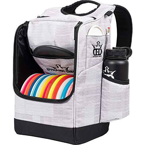 Dynamic Discs Sniper Disc Golf Backpack | 16 Disc Storage in Main Compartment | Deep Top Zippered Pocket to Hold Additional Disc Golf Accessories | Two Water Bottle Holders (Blizzard)