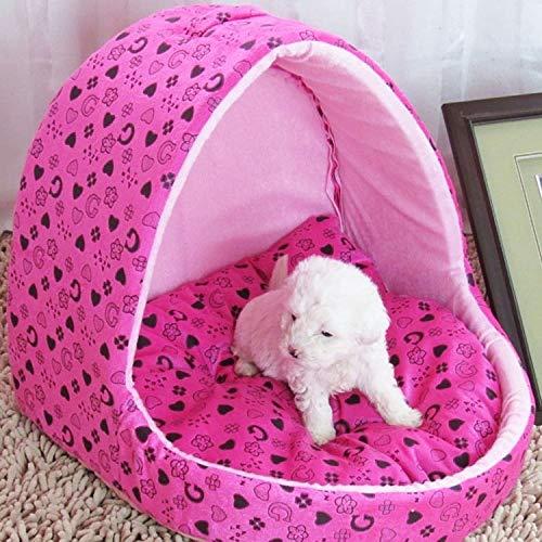 Tuzi Qiuge Hundebett Kennel Katzenbett warm kreativ Yart Form Haus Haustier Tragbare Korb Größe: L, 42 * 48 * 48 cm (Color : Pink)
