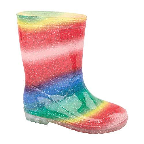 Shayko Mädchen Gummistiefel Regenbogen Design und Blumenmuster Kinder Gummistiefel Regen Schnee Gummistiefel Größe 39-47, - mehrfarbig - Größe: 30 EU