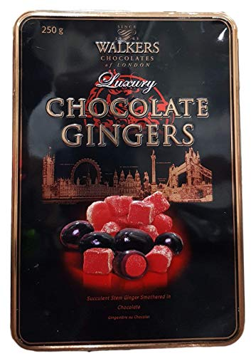 Walker's Luxury Chocolate Gingers Tin. Delicious stem ginger covered in dark chocolate